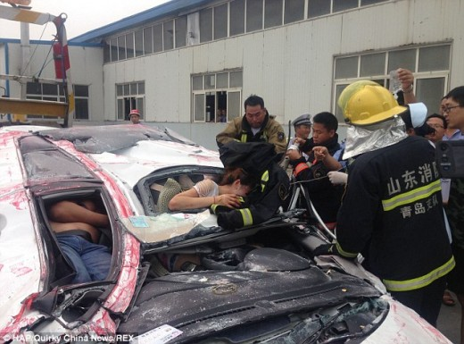 Car accident at Quingdao in eastern China's Shandong province. None of the victims were lost.