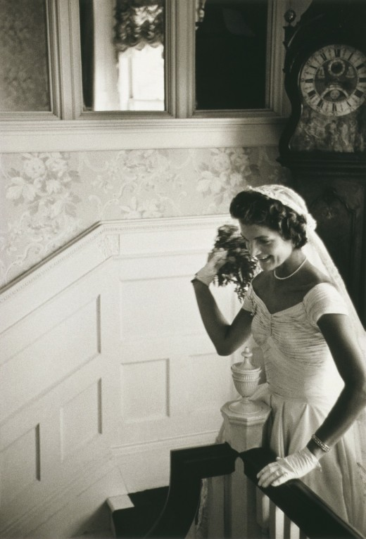 Jacqueline Kennedy, future First Lady, wearing pearls on her wedding day.