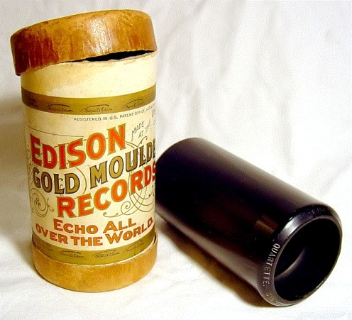 An early Edison cylinder for holding recordings.  It looks like a can.