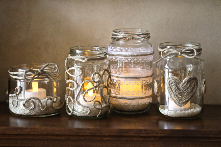 Mason Jar Home Decor Ideas Part - 37: Decorating Glass Candle Jars