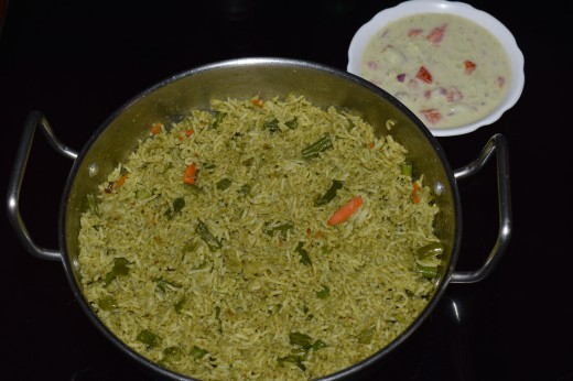 Mint leaves Pulav and Salad made using green chilies