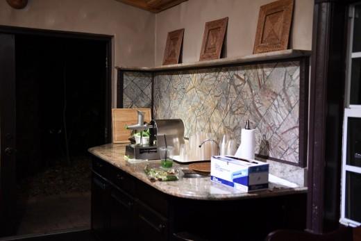 The wheatgrass juicing room.