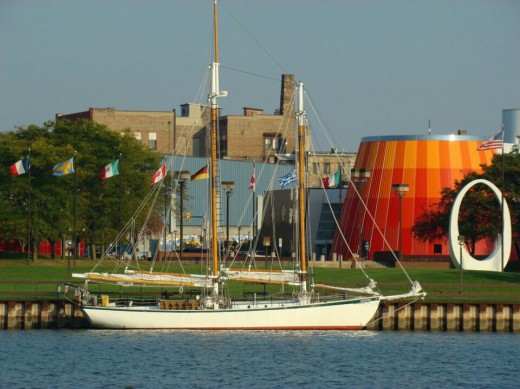 Classic boat in the Saginaw River, part of a yearly tall boat festival.