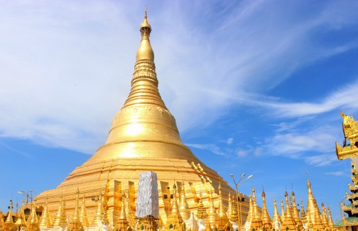 The golden pagoda of Shwedagon contains eight hairs of the Buddha, and is one of Buddhism's most sacred sites.