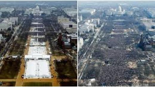 Trumps inauguration(L), Obama's (R)