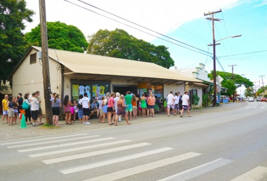 M. Matsumoto Shave Ice store located in Haleiwa on Oahu has a long line of customers on any given day. M. Matsumoto Shave Ice store is only on Oahu