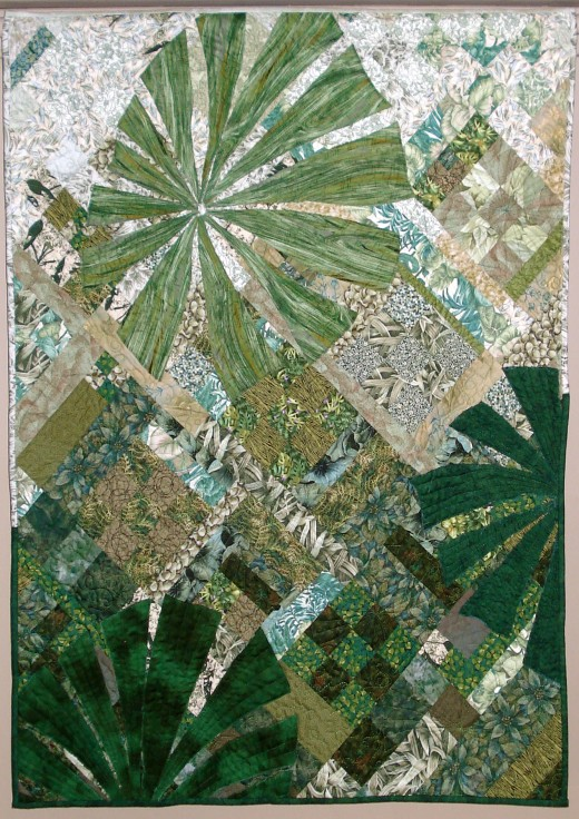 Photo Inspired art quilt of the fan palms on Cape York