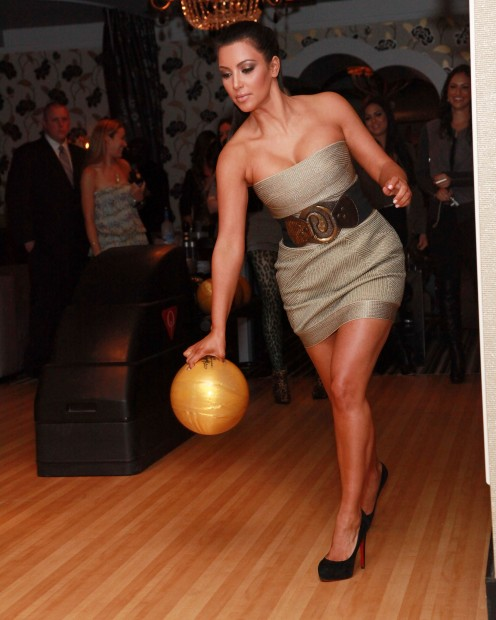 Even popular socialite, Kim Kardashian loves bowling