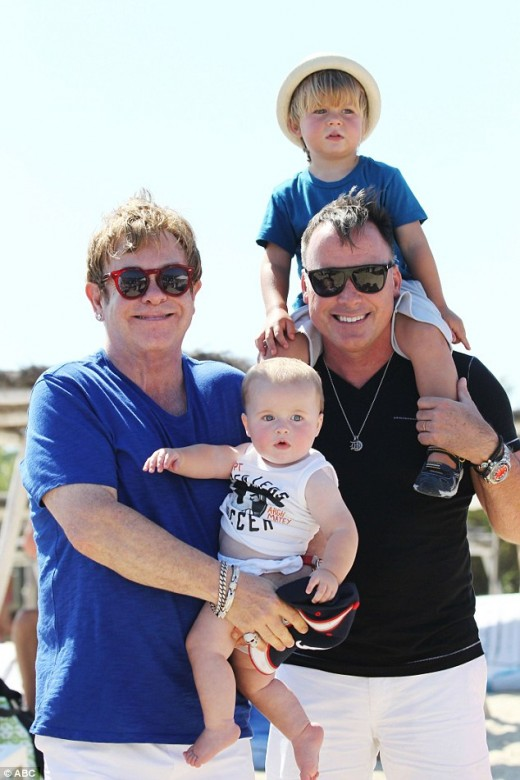 Elton John and husband David Furnish. They were married Dec. 21, 2005. With two sons Zachary 5 and Elijah 3.