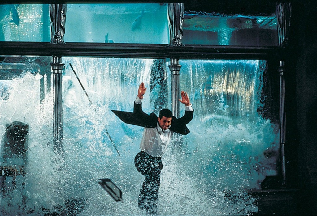 The exploding fish tank stunt was reportedly Cruise's idea. De Palma tried to shoot it with a stunt double, but the results were unconvincing. So that's really Cruise you see as he flees from 16 tons of rushing water. (Fact #10)