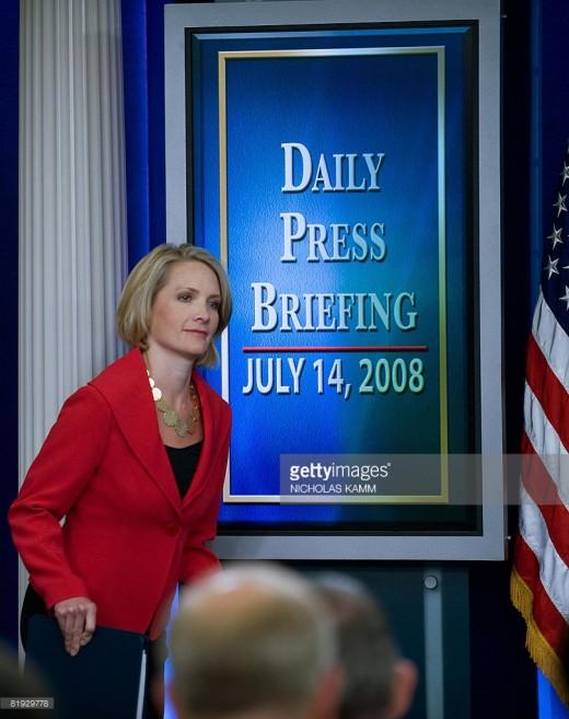 Dana Perino, from newsroom to White House, as Press Secretary to President George W. Bush.