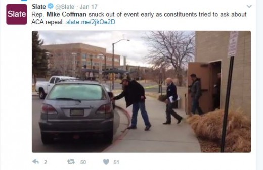 Slate was one of the national media organizations who posted the story about Congressman Mike Coffman sneaking out of his meeting early.