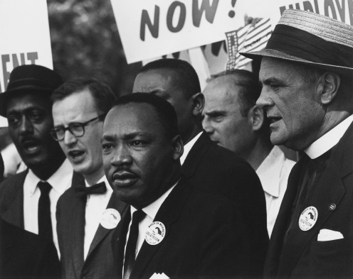 Civil Rights march on Washington D.C.. Mathew Ahmann in a crowd