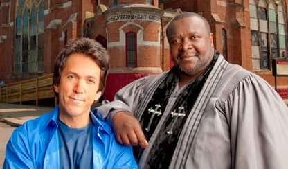 This photo is of the real Mitch Albom and Henry Covington.