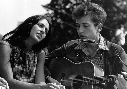Joan Baez with folk icon, Bob Dylan at Civil Rights protest  in Washington, D.C.