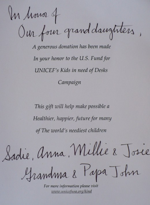 The card from Unicef that we gave to our grandaughters.