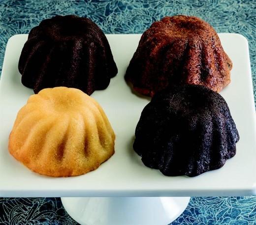 Round, individual sized moon cakes.