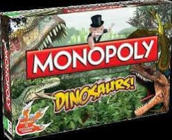 Dinosaur Monopoly has six playable pieces which are a footprint, claw, T-Rex skull, dinosaur egg, a skeleton and a Triceratops skull.