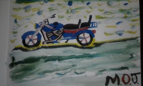 Motorcycle in Watercolor