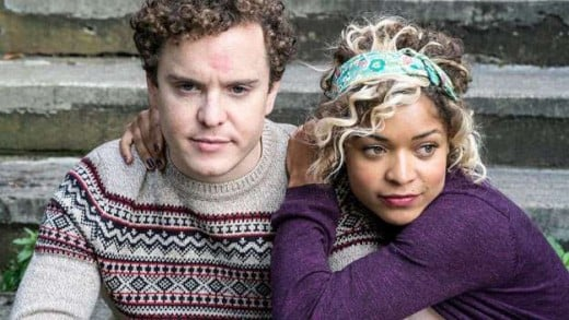 Misfits fans may recognize a few actors, besides Antonia Thomas; pictured with Thomas is Joshua McGuire, who has a prominent role as Angus in season 2 of Lovesick...