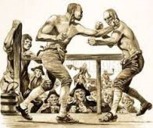 "Before the ""Marquess of Queensbury"" boxing rules were established fighters fought without gloves."