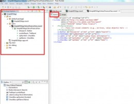 The Flash Builder Editor in Source View
