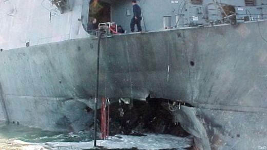 U.S.S. Cole Damaged in Terrorist Attack