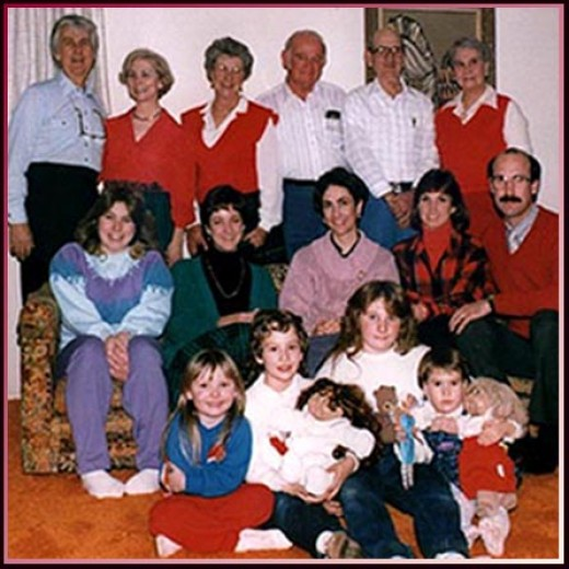 George, Nellieanna, s-i-l Frances, bro Harold, b-i-l Jay, sis Ruth middle row: My daughter Dyane, niece Harriet Ann, niece Carroll, n-i-l Cheryl, nephew Roger front row:
