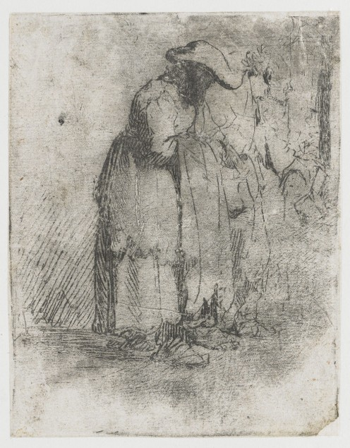 Old beggar man and woman etching circa 1628