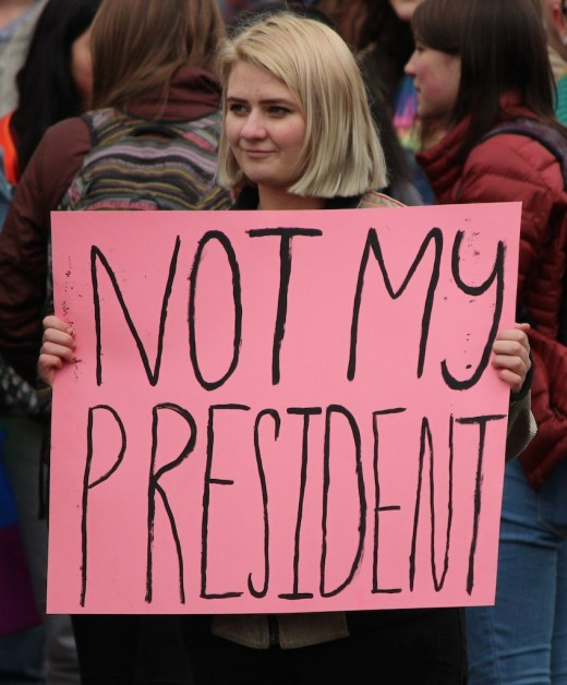 General anti-Trump signs were common at the Women's Marches.