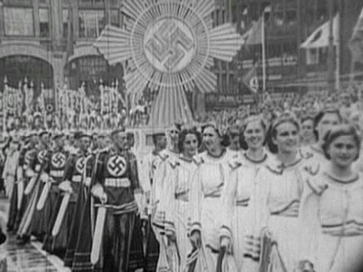 During their rise to power in the 1930's, Nazi parades commonly used Pagan symbols and dress from Pre-Christian, German history.  Being more native, they felt it was more pure to their ideals rather than a Jewish-based religion.