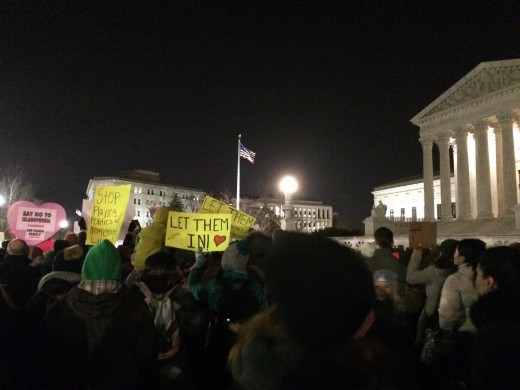 Sea of protest against Donald's ban