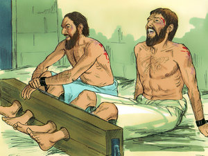 Paul and Silas sang praises to God while in prison after being beaten with rods (Acts 16:25).