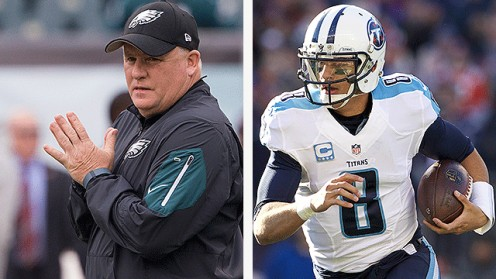 (left) Chip Kelly, who once coached Marcus Mariota, at The University of Oregon. Mariota is now the quarterback of the NFL's Nashville Titans.