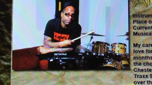 Alvis (Pop) Booker, plays Percussion and  drums. He enjoys playing soul, R&B, Funk and Smooth Jazz.