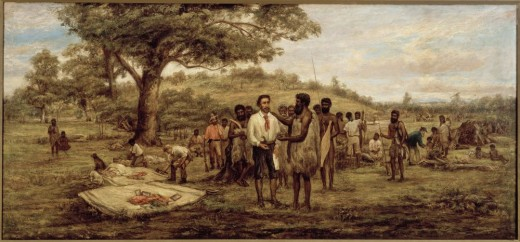 Batman's treaty with the aborigines [sic] at Merri Creek, 6th June 1835, John Wesley Burtt, picture collection, State Library of Victoria, Accession Number H92.196