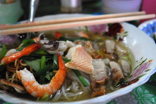 Seafood Pho ios a delight pairing the delicate taste of fish, prawns and shellfish with the tang of fresh herbs and crunch of bean sprouts and green onions
