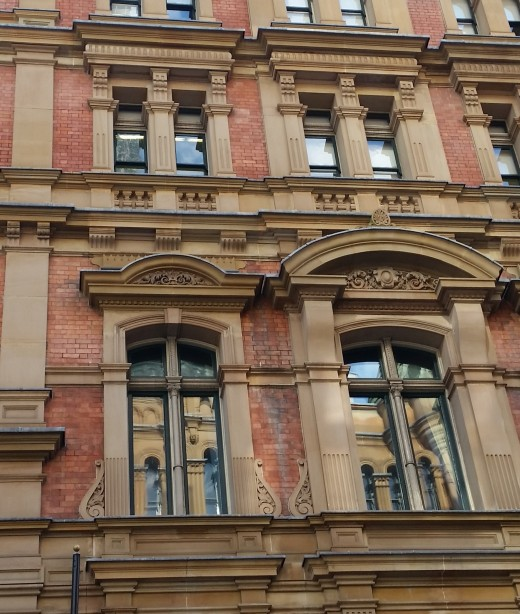 Italianate building reflected in facade - Pitt Street, Sydney, Australia - 2016