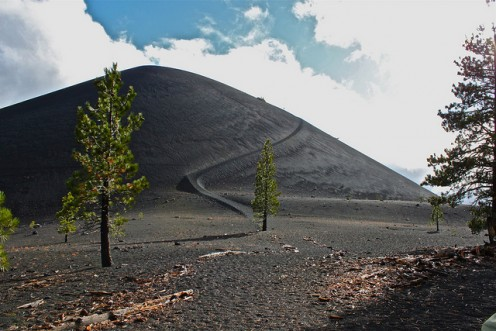 Cinder Cone from near the base, showing the trail upward, and on approach