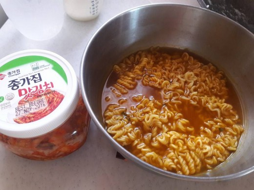 Cabbage Kimchi and Ramyeon