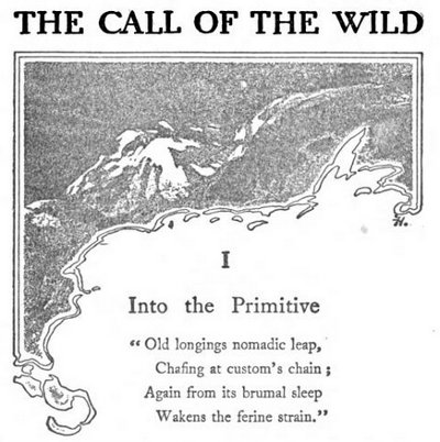 Jack London's 'The Call Of The Wild', a moving tale of a dog taken out of familiar surroundings that is eventually accepted by wolves as one of their own.in the far north