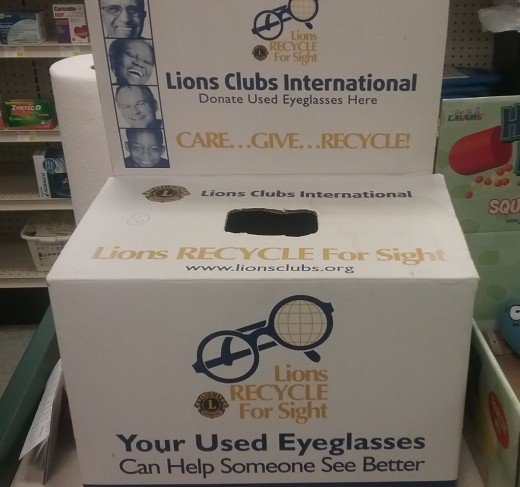Donation box for eyeglasses to the Lions Club