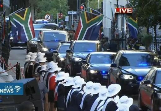 The president arrives