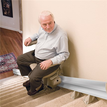 Example of how a stair lift fits on your stair case