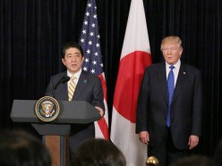 Trump and Abe shoulder to shoulder
