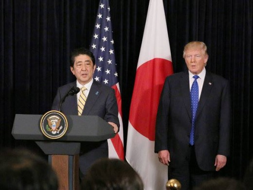 Prime Minister Shinzo Abe and President Donald J Trump