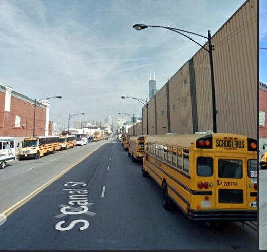 Buses lined 5 blocks.