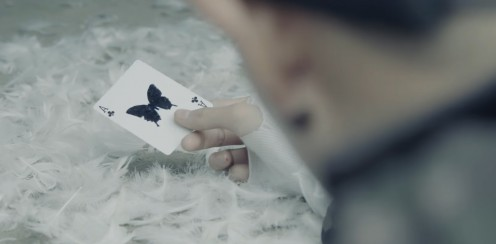 The card with the butterfly at 2:22.