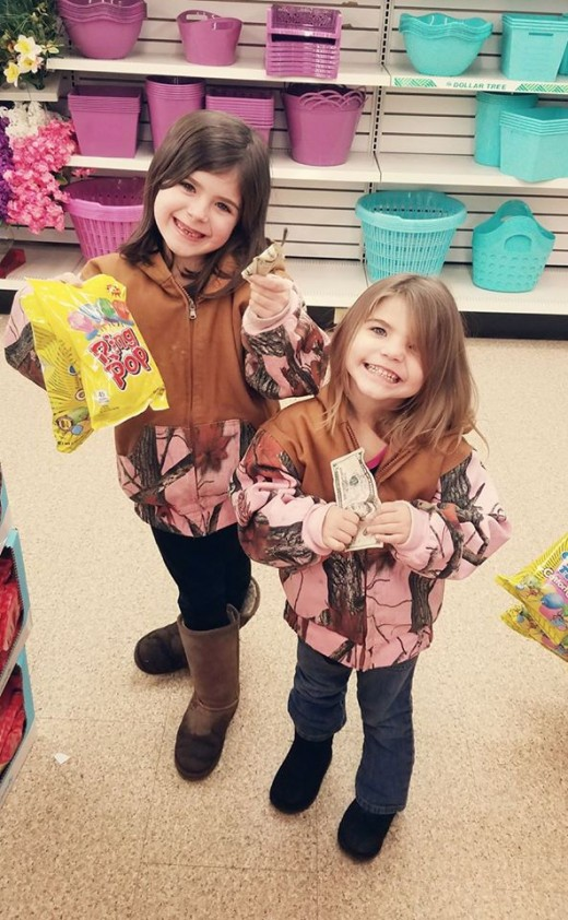 These are my great granddaughters, Braelie and Paisley spending their valentine money grandma sent them.