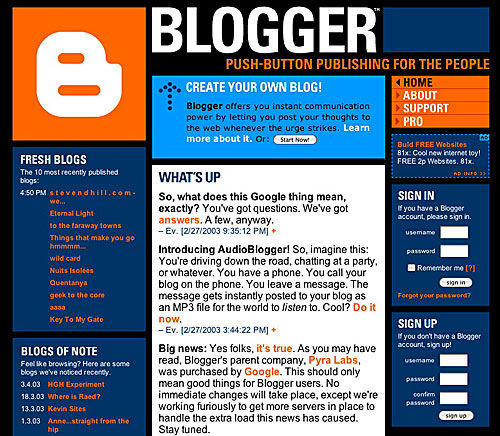 blogger.com is best for freelance creative writing